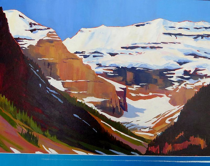 multi-colour acrylic painting titled Lake Louise and Mt Victoria by artist phillipa hudson.