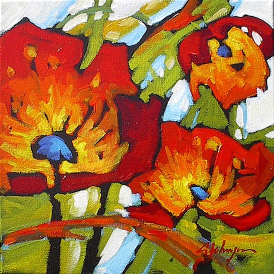 multi-colour acrylic painting titled SOLD - Moving Along by artist gail johnson.