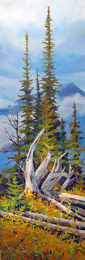 multi-colour arcylic painting titled Mountain Roots by artist randy hayashi.