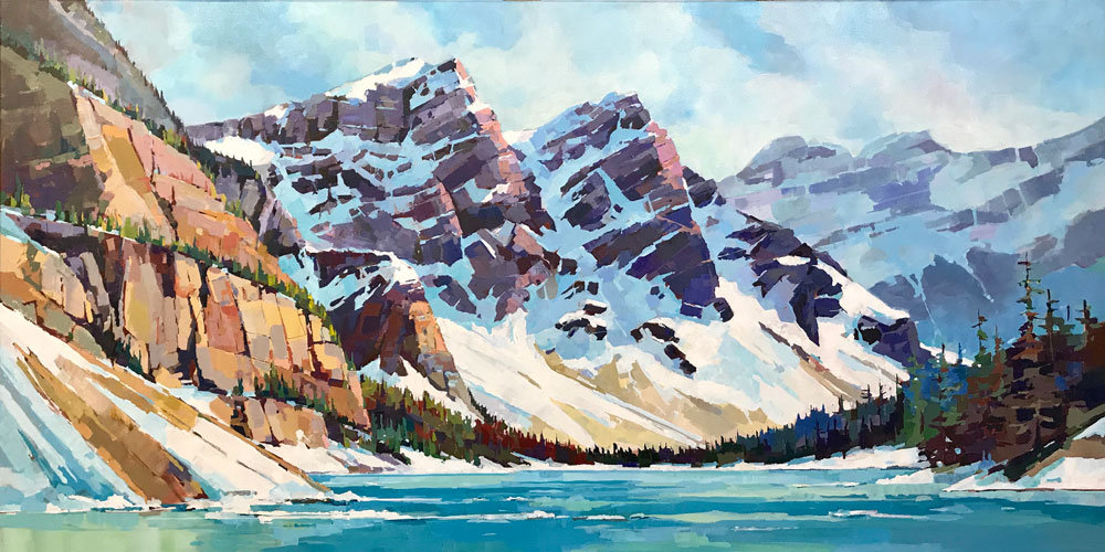 multi-colour arcylic painting titled SOLD-Spring at Moraine by artist randy hayashi.