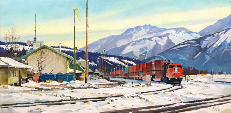 multi-colour arcylic painting titled Jasper Tracks by artist randy hayashi.