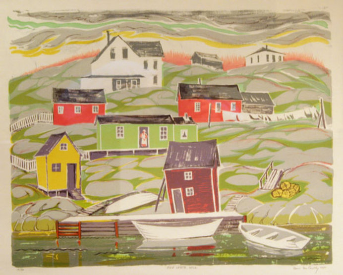 multi-colour hand pulled litho painting titled Baie Verte Newfoundland by artist doris mccarthy.