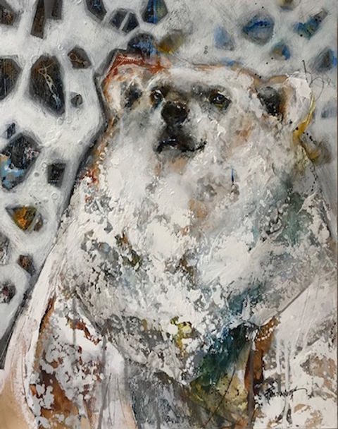 Multi-colour arcylic painting of a bear titled SOLD-Smirk by artist fran alexander