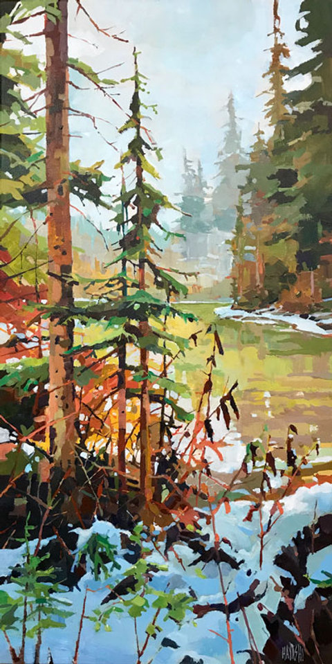 multi-colour arcylic painting titled Edge Snow by artist randy hayashi.