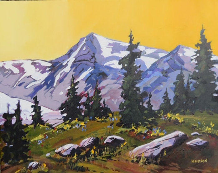 multi-colour acrylic painting titled Meadows in the Coast Range beyond Pemberton by artist phillipa hudson.