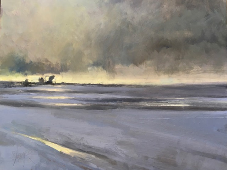 multi-colour oil painting titled SOLD - Ice Lines by artist david sharpe.