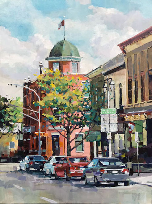 multi-colour arcylic painting titled The Queens Inn by artist randy hayashi.