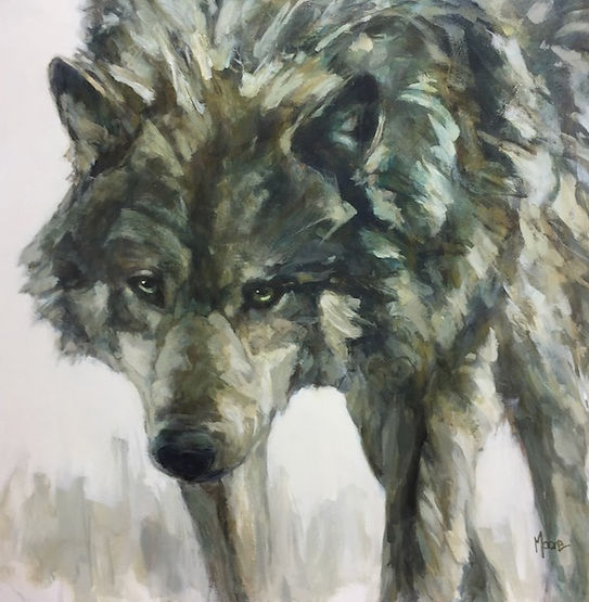 multi-colour acrylic painting titled SOLD - Lone Wolf by artist andrea moore.