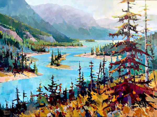 multi-colour arcylic painting titled SOLD - Athabasca Drift by artist randy hayashi.