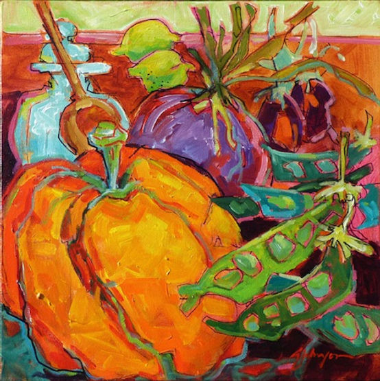 multi-colour acrylic painting titled Everyday Abundance by artist gail johnson.