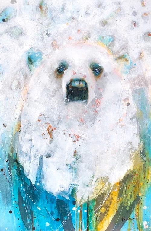 Multi-colour arcylic painting of a bear titled Polar Bear Cub by artist fran alexander