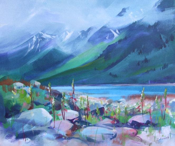 multi-colour arcylic painting titled Kinbasket Lake by artist zoe evamy
