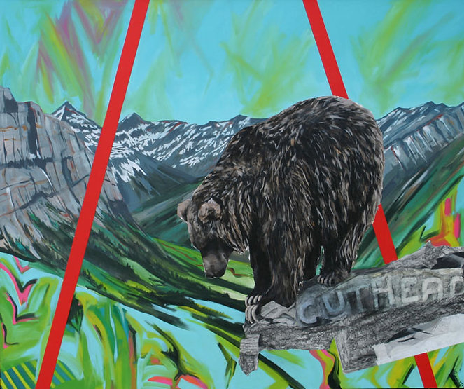 multi-colour arcylic painting titled On Guard by artist maureen enns