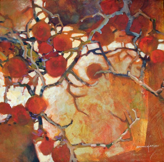 multi-colour arcylic painting titled Russet Tangle by artist brian atyeo