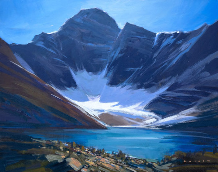 multi-colour arcylic painting titled SOLD - Hot day at Lake MacArthur by artist charlie easton