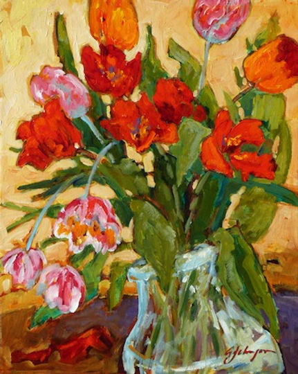 multi-colour acrylic painting titled Come Springtime by artist gail johnson.