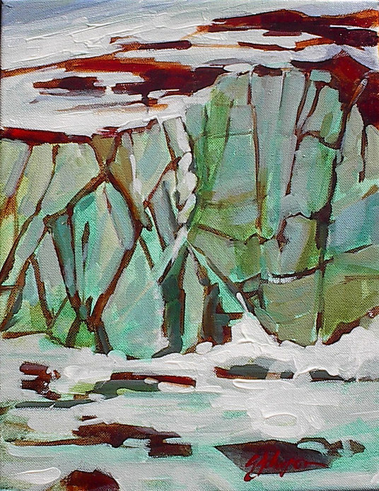 multi-colour acrylic painting titled Cavell Pond Study by artist gail johnson.