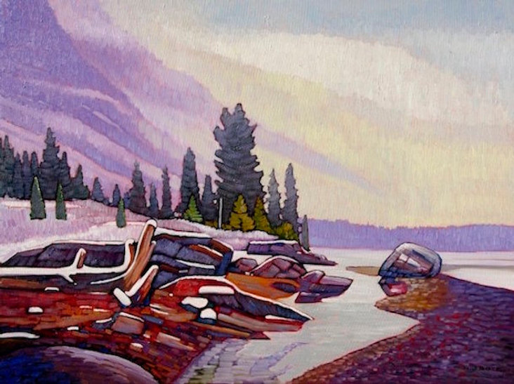 multi-colour oil painting titled Athabasca River in Mist by artist nicholas bott