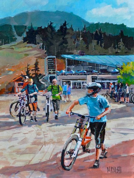 multi-colour arcylic painting titled Whistler Bike Park by artist randy hayashi.