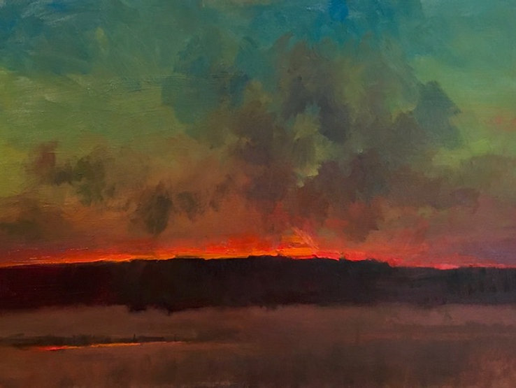 multi-colour acrylic painting titled Edge of the West by artist david sharpe.