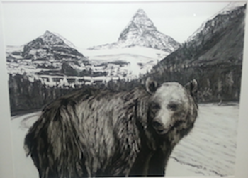 black and white charcoal  painting titled Biscuit Eyeing her mate at 5 years by artist maureen enns