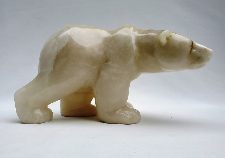 italian alabaster soapstone scupture titled SOLD-Equinox by sculptor roy hinz.