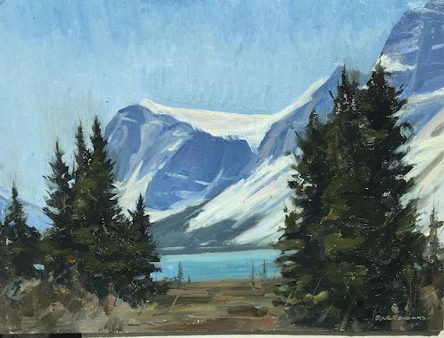 multi-colour oil painting titled Bow Lake by artist  jason bartziokas