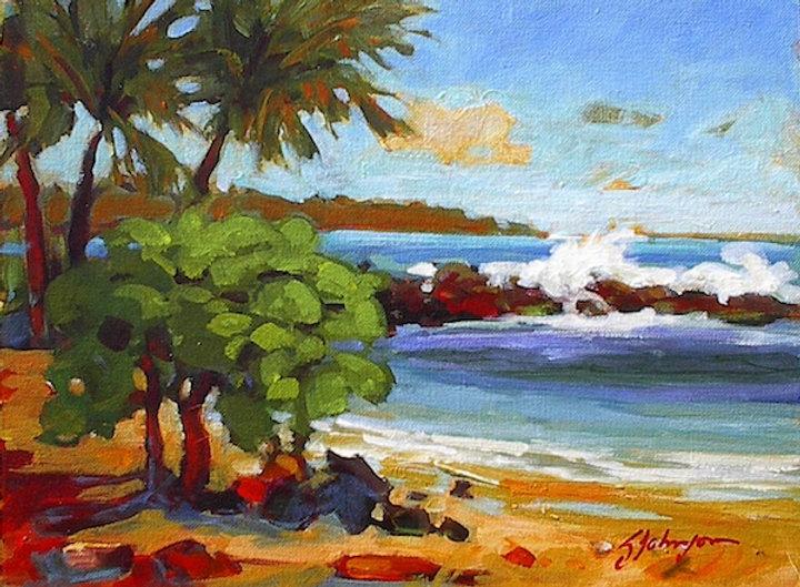 multi-colour acrylic painting titled Lydgate Park, Kauai by artist gail johnson.