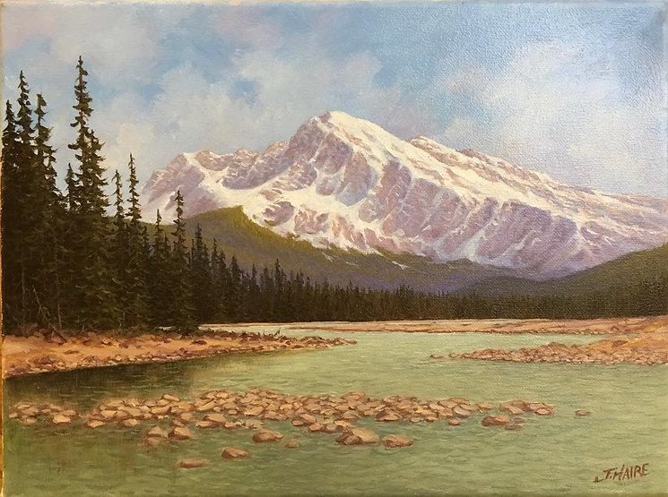 multi-colour oil painting titled SOLD Mount Hardisty- Near Jasper by artist joe haire.