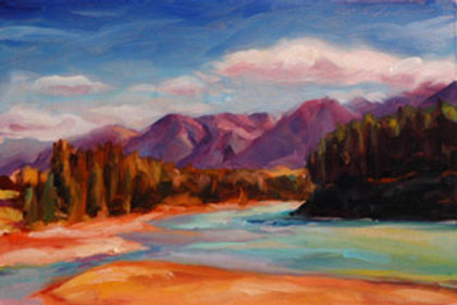 multi-colour oil painting titled Rivers Bend by artist michael downs