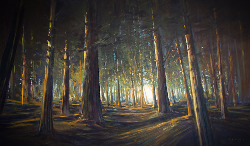 multi-colour arcylic painting titled Gulf Island Glow by artist charlie easton