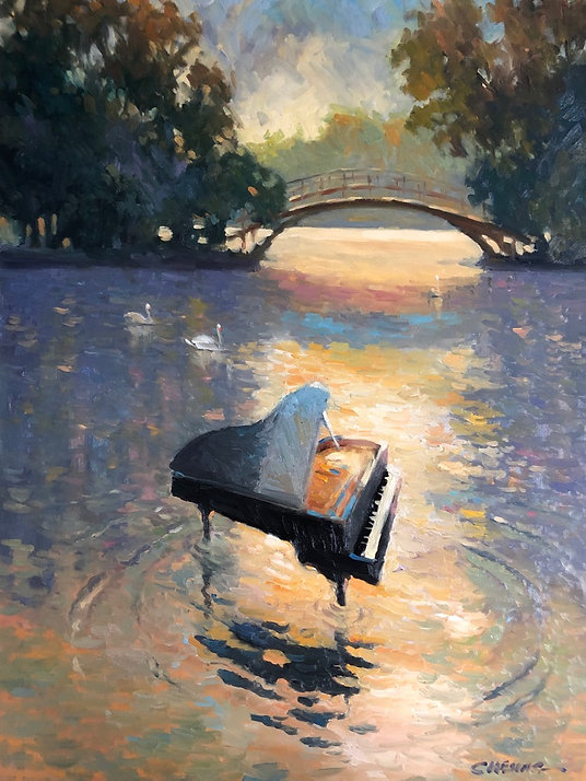 multi-colour oil painting titled Music on the Avon by artist peter cheung