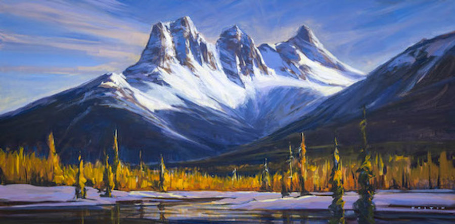 multi-colour arcylic painting titled SOLD - Three Sisters Standing Tall by artist charlie easton