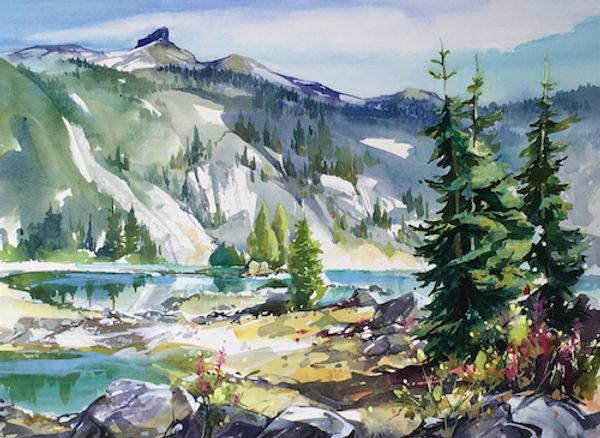 multi-colour watercolour painting titled SOLD Garibaldi Lake (Black Tusk) by artist zoe evamy