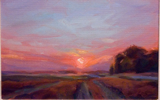 multi-colour oil painting titled SOLD - 'Setting Sun' by artist michael downs