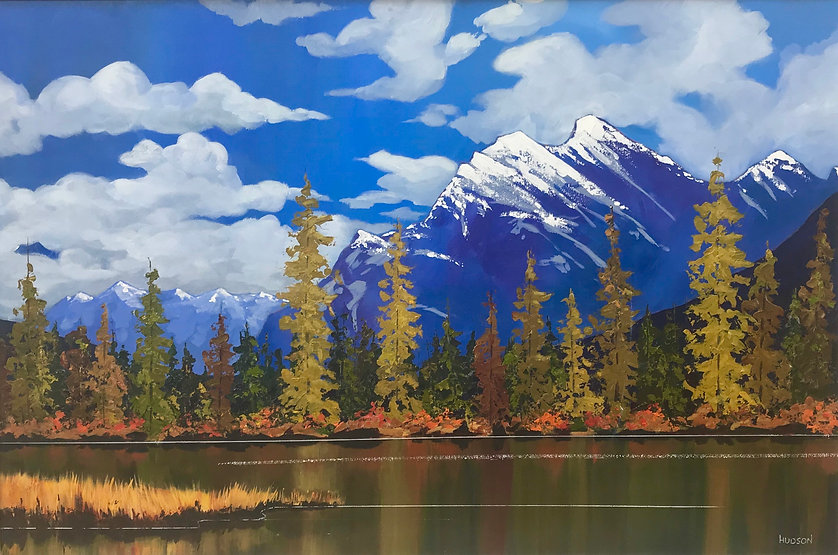 multi-colour acrylic painting titled First Snow of Mt Rundle by artist phillipa hudson.