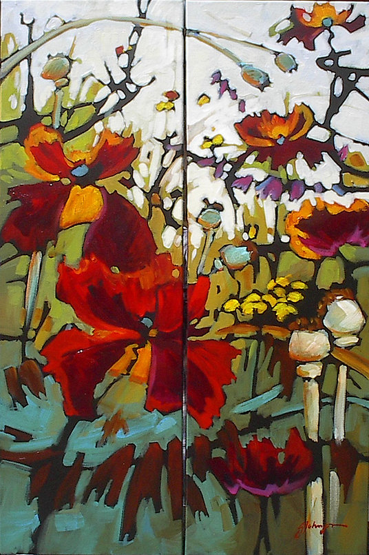 multi-colour acrylic painting titled Restless Days - Diptych by artist gail johnson.
