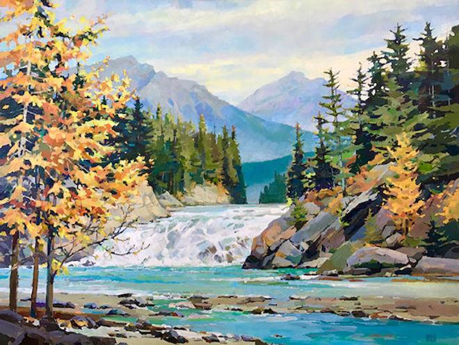 multi-colour arcylic painting titled Base-at-Bow-Falls by artist randy hayashi.