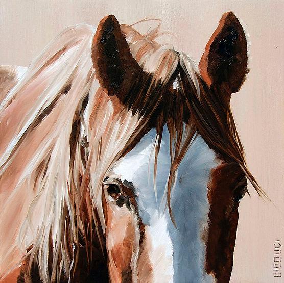 multi-colour oil painting titled Head Shot Series #21 by artist bigoudi