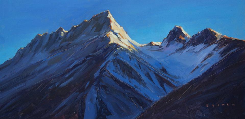 multi-colour oil painting titled Ridgeline Light by artist charlie easton