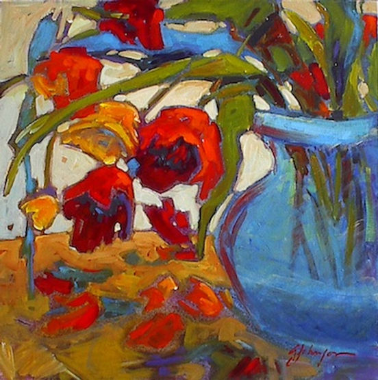 multi-colour acrylic painting titled A Time for Colour by artist gail johnson.