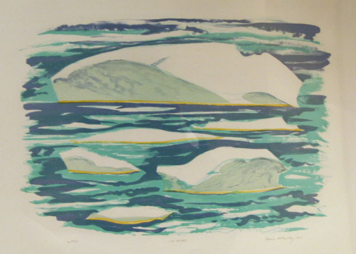 multi-colour hand pulled litho painting titled Ice Flows by artist doris mccarthy.