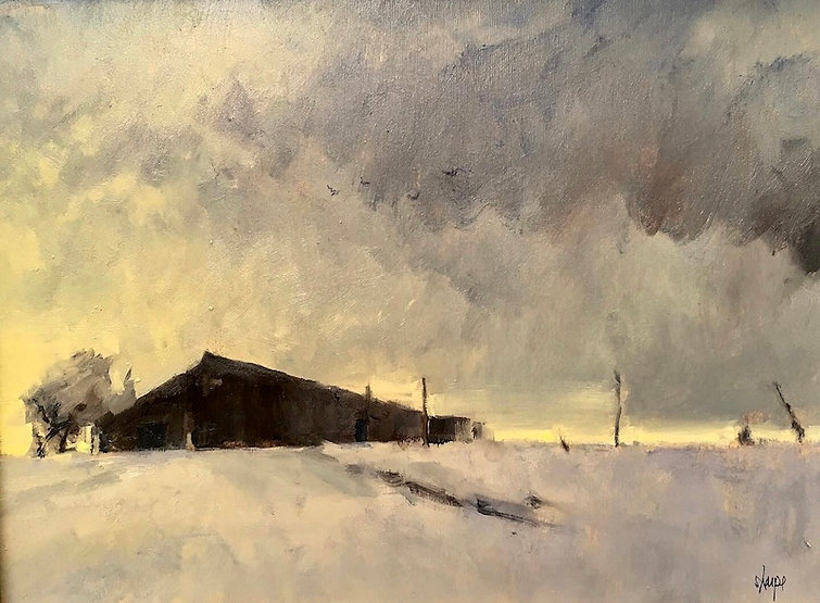 multi-colour oil painting titled SOLD-Jackson Barn Winter Afternoon by artist david sharpe.