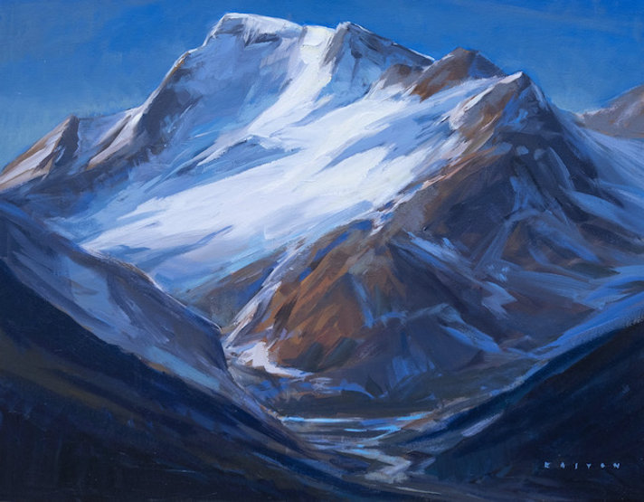 multi-colour arcylic painting titled Mount Athabasca Brightness by artist charlie easton