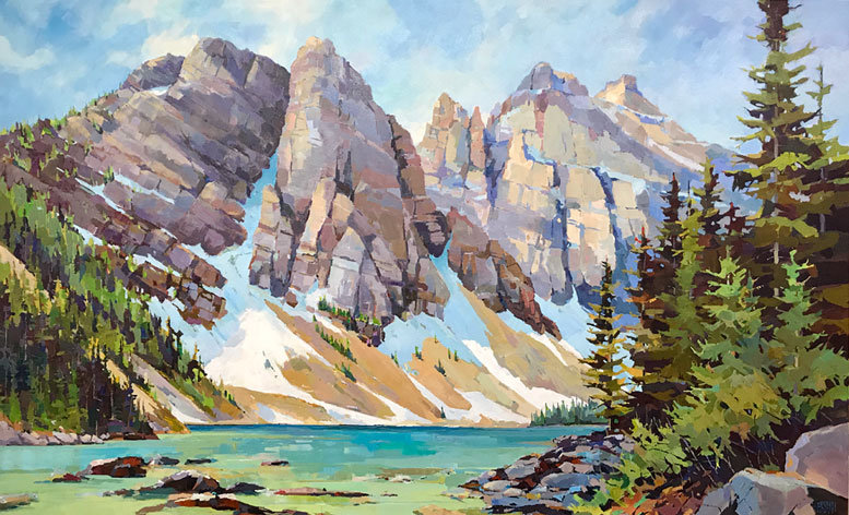 multi-colour arcylic painting titled SOLD - Angles-at-Lake-Agnes by artist randy hayashi.