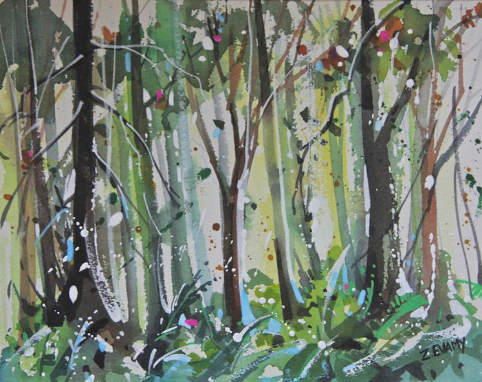multi-colour watercolour painting titled SOLD-Woodland Snow by artist zoe evamy