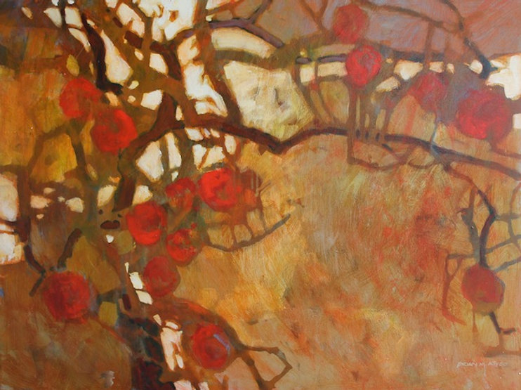 multi-colour arcylic painting titled November Fruit by artist brian atyeo