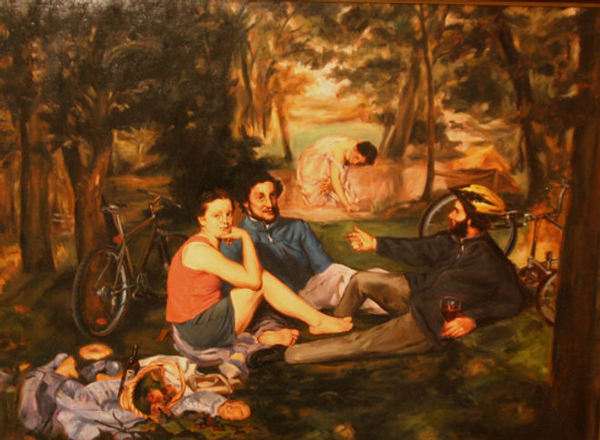 multi-colour oil painting titled Luncheon on the Grass by artist michael downs