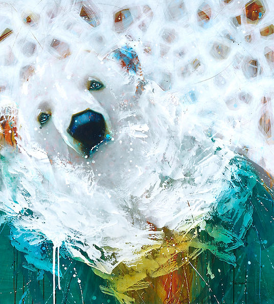 Multi-colour arcylic painting of a bear titled SOLD- Northern Bear by artist fran alexander