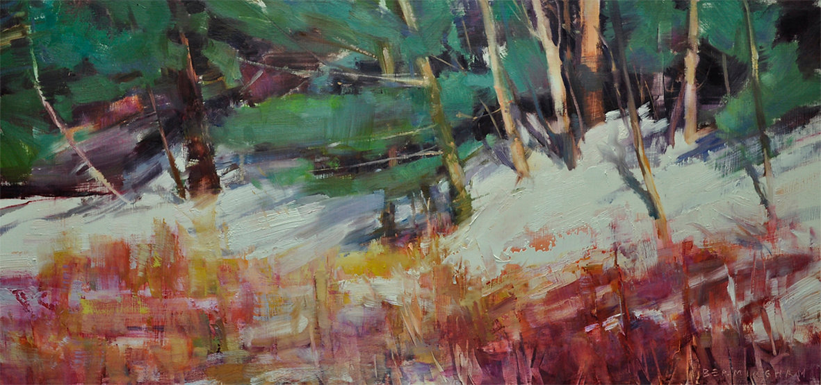 multi-colour oil painting titled Walking on Sunshine by artist wendy bermingham